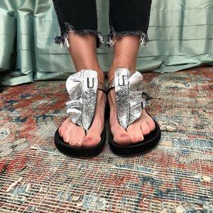 Isabel Marant metallic t-strap sandals
